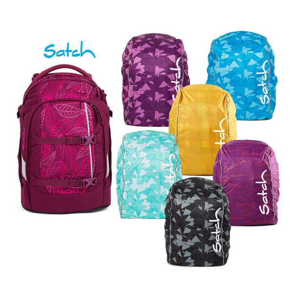 satch pack Schulrucksack Purple Leaves inklusive...